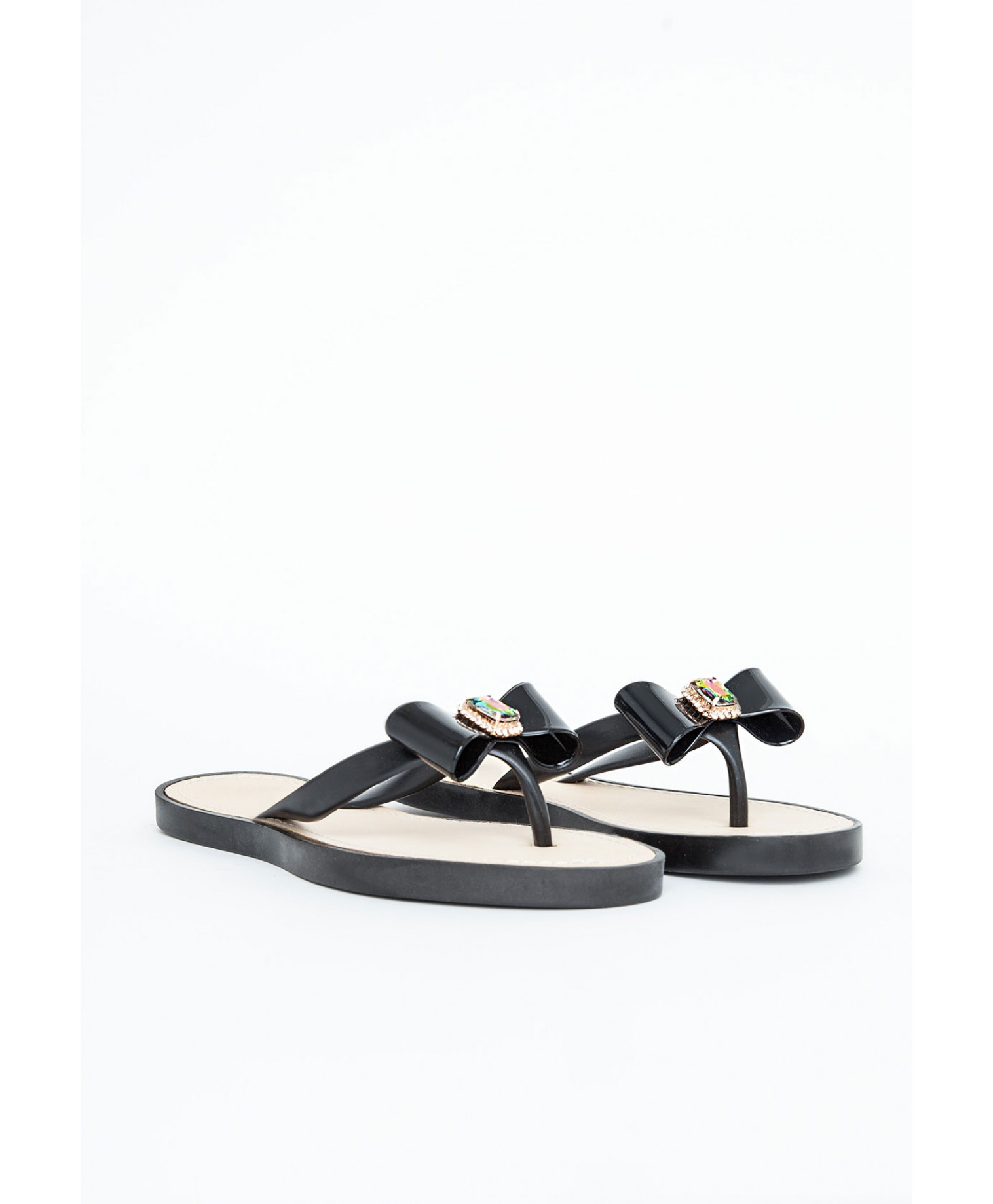 Natsuko flipflops with bow and gem detailing in black