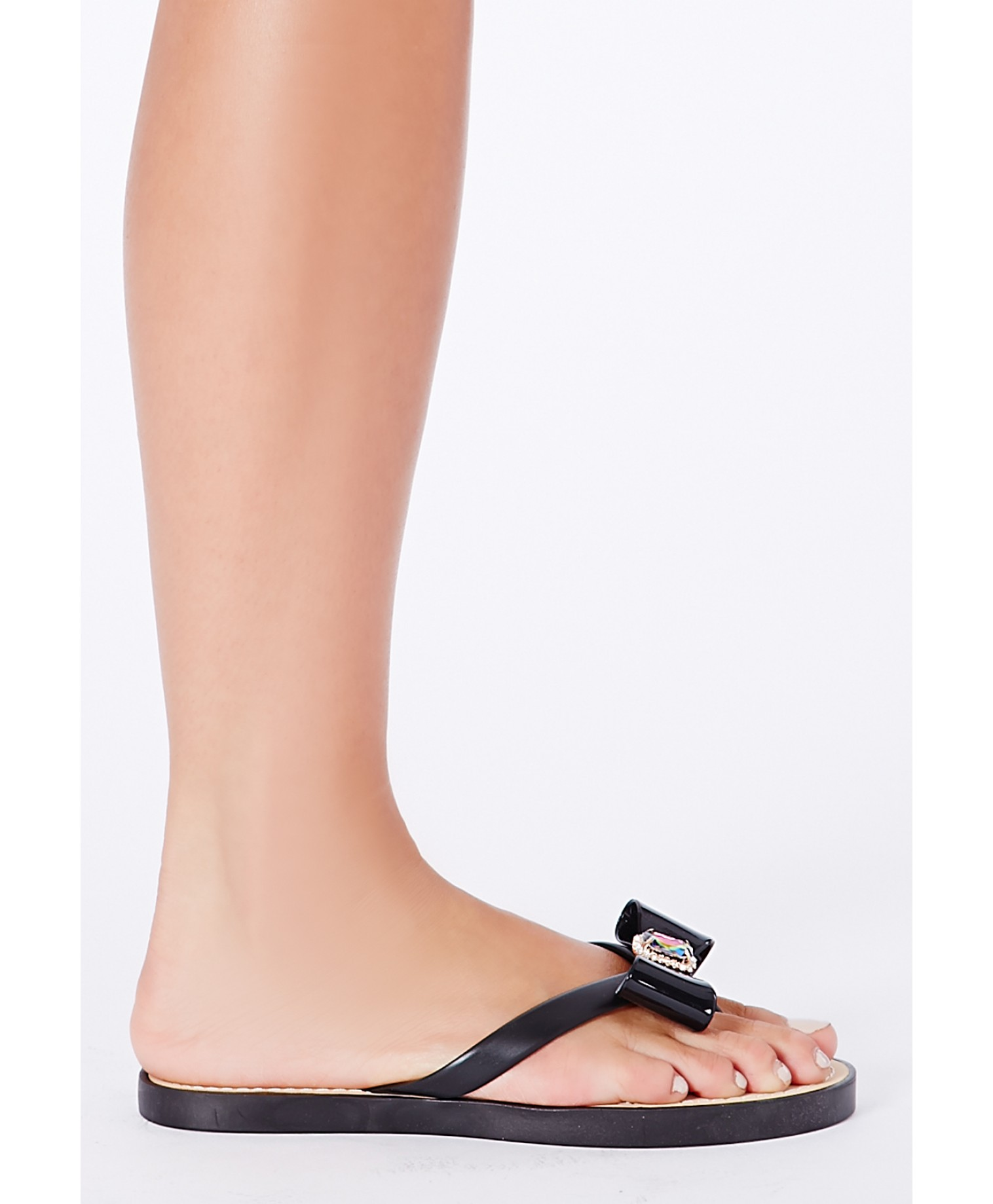 Natsuko flipflops with bow and gem detailing in black 2