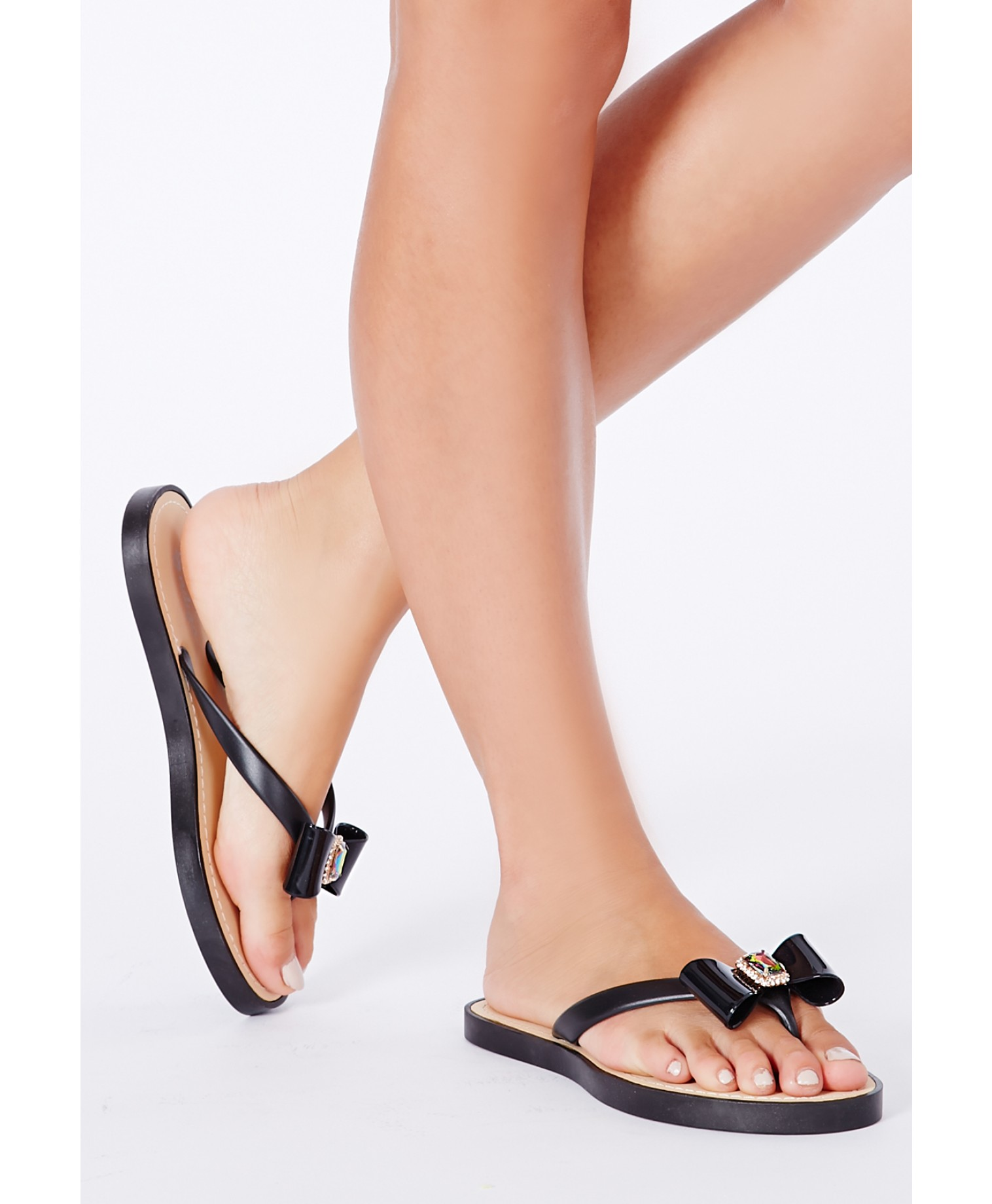 Natsuko flipflops with bow and gem detailing in black 3