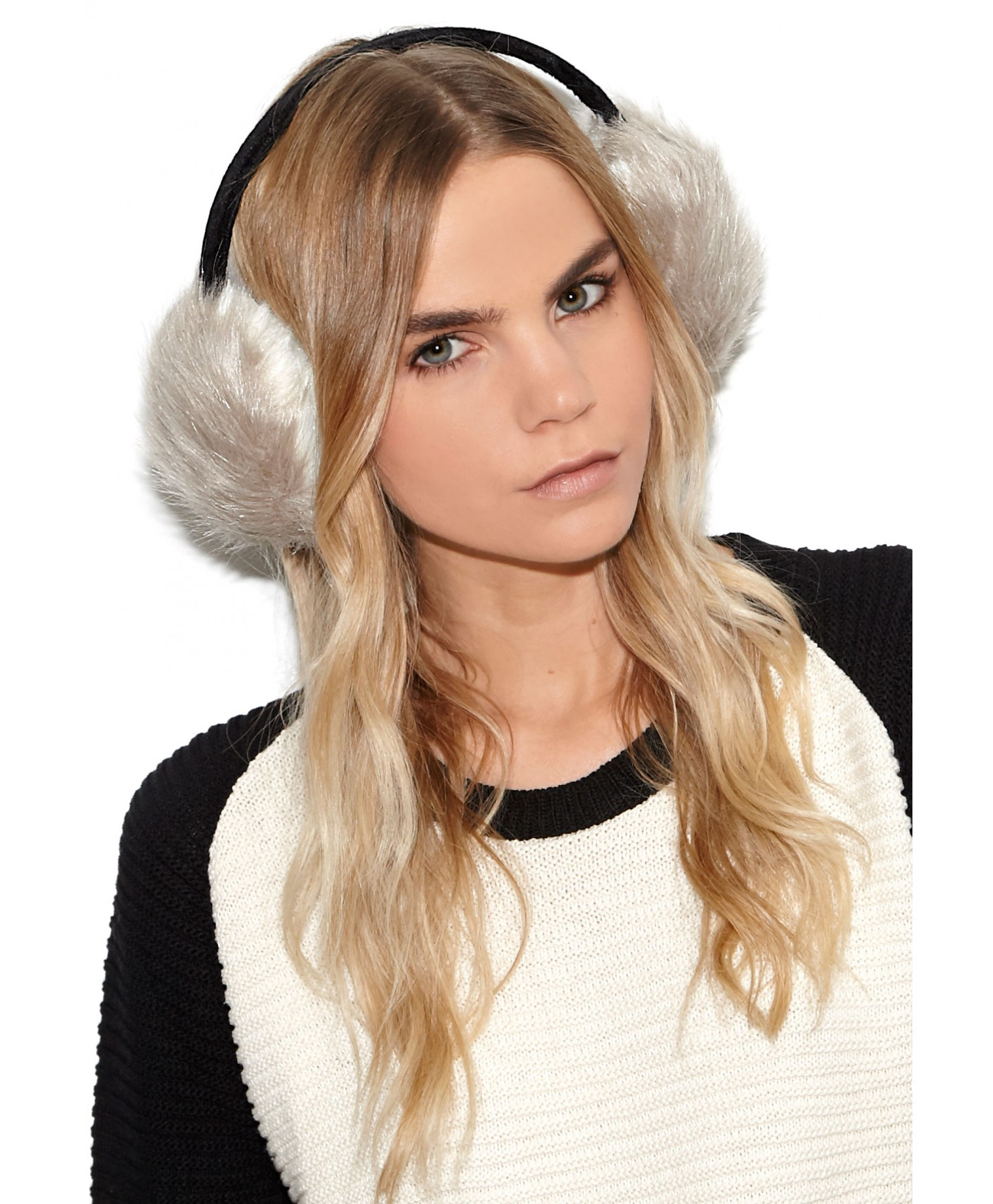 Eufemia faux fur ear muffs in grey