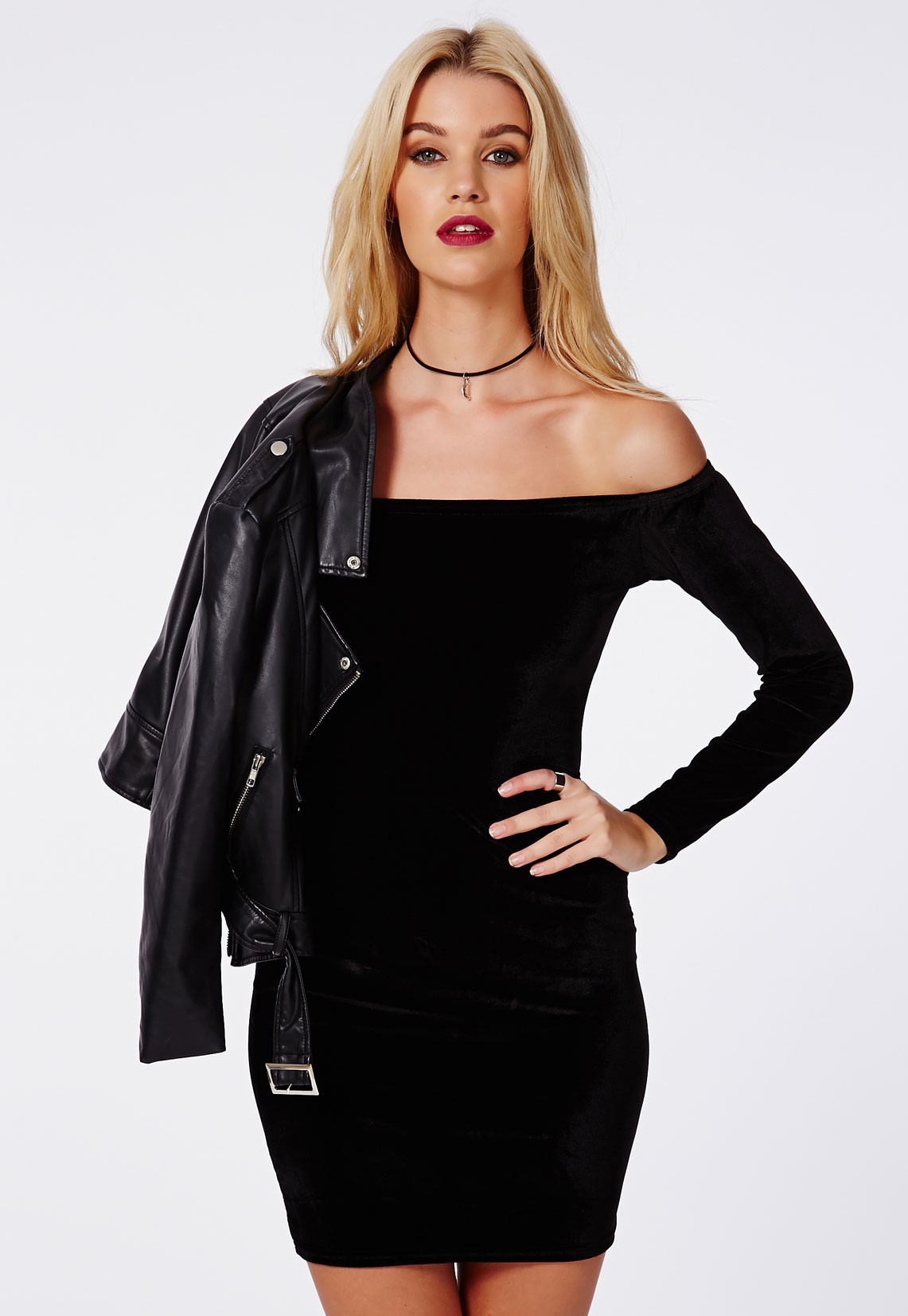 Rorry Velvet Bardot Bodycon Dress Black