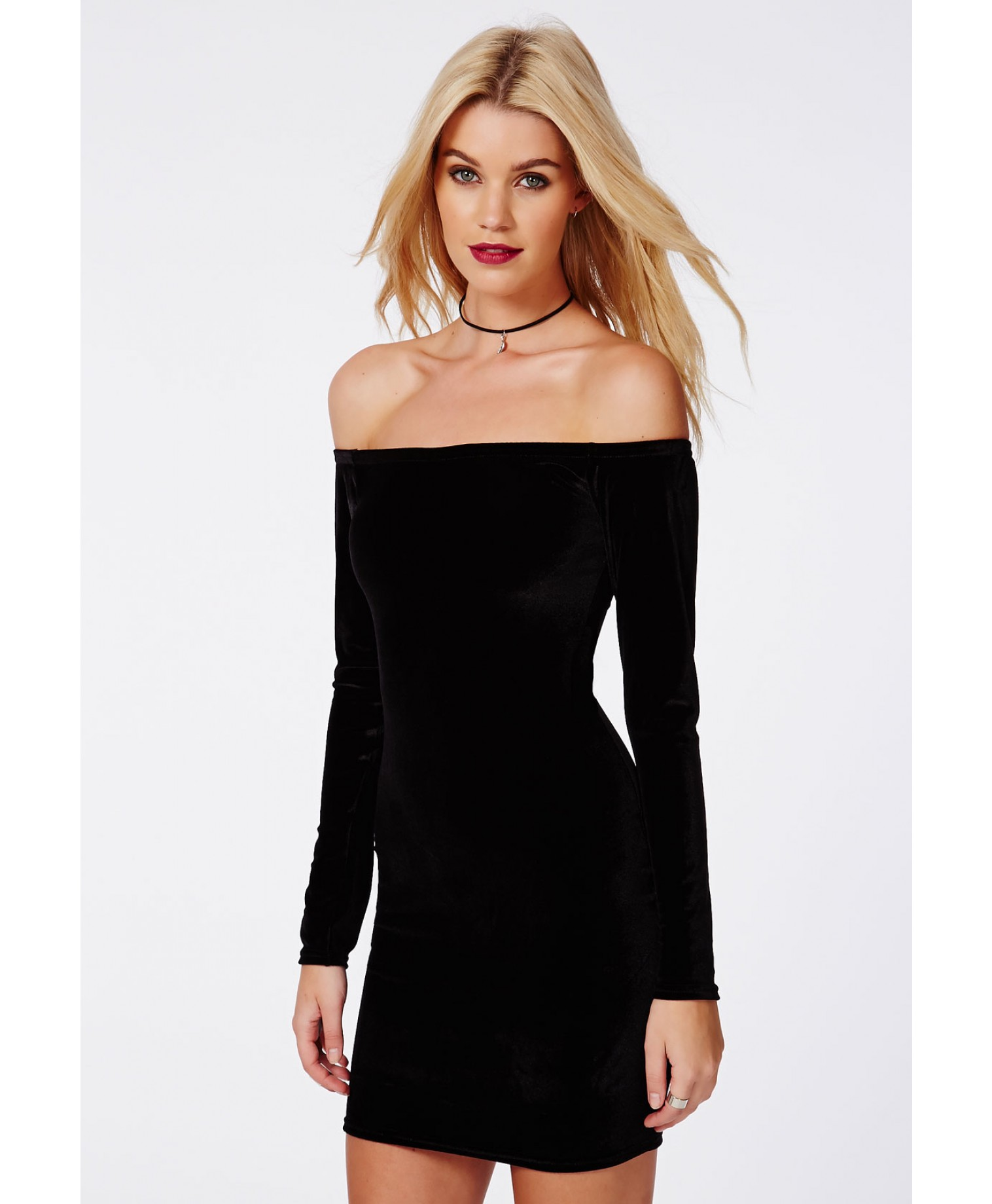 Rorry Velvet Bardot Bodycon Dress Black 5