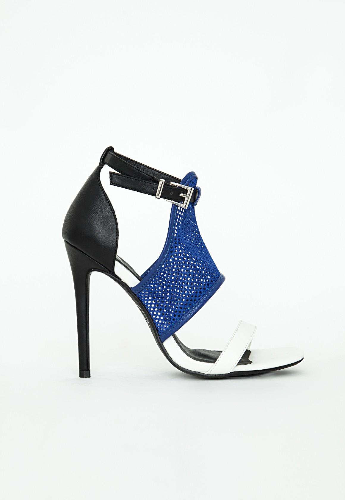Mesh Contrast Heeled Sandals