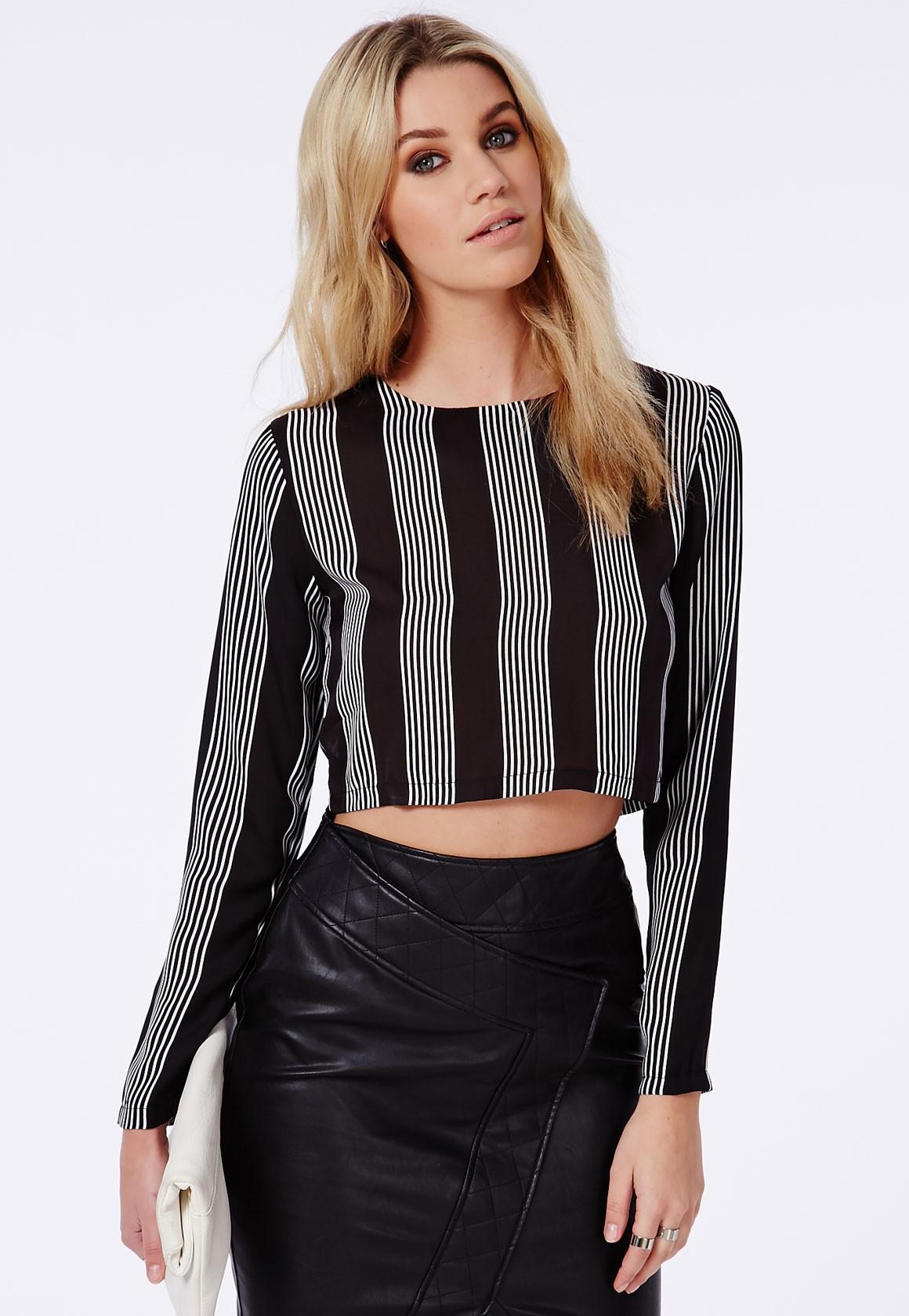 Long Sleeve Striped Crop Top Black