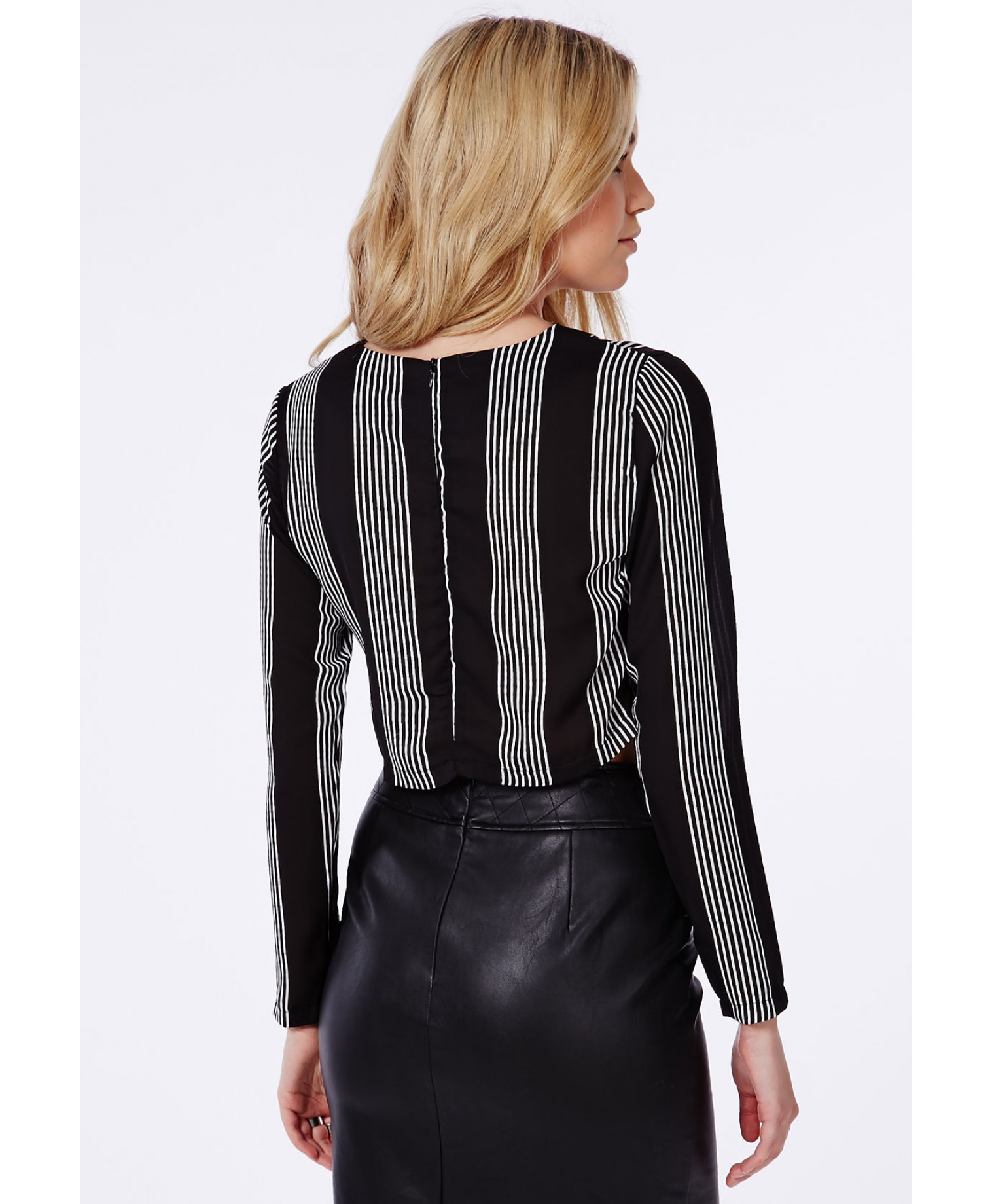 Long Sleeve Striped Crop Top Black 2