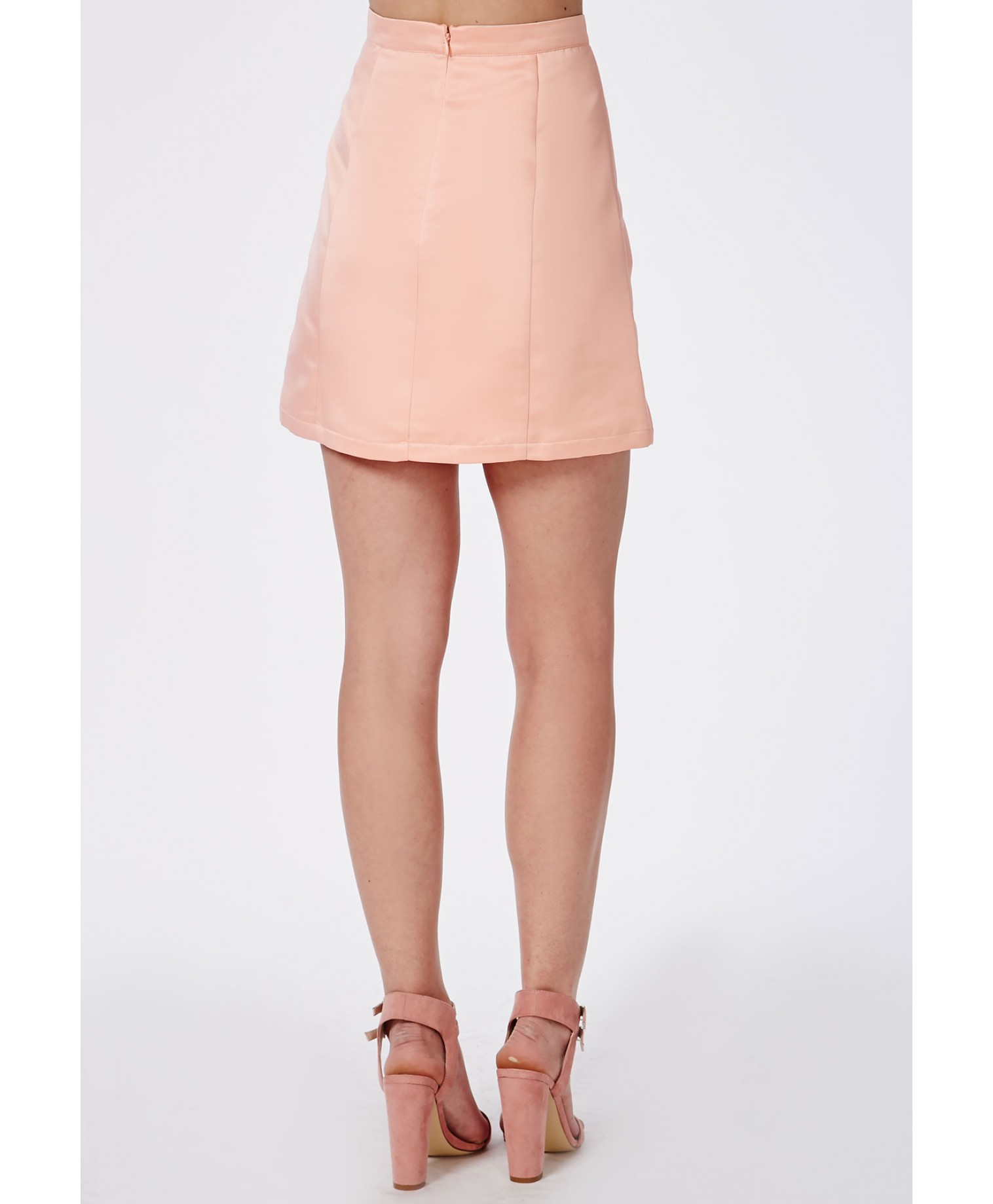 Satin A Line Mini Skirt Dusky Pink 2
