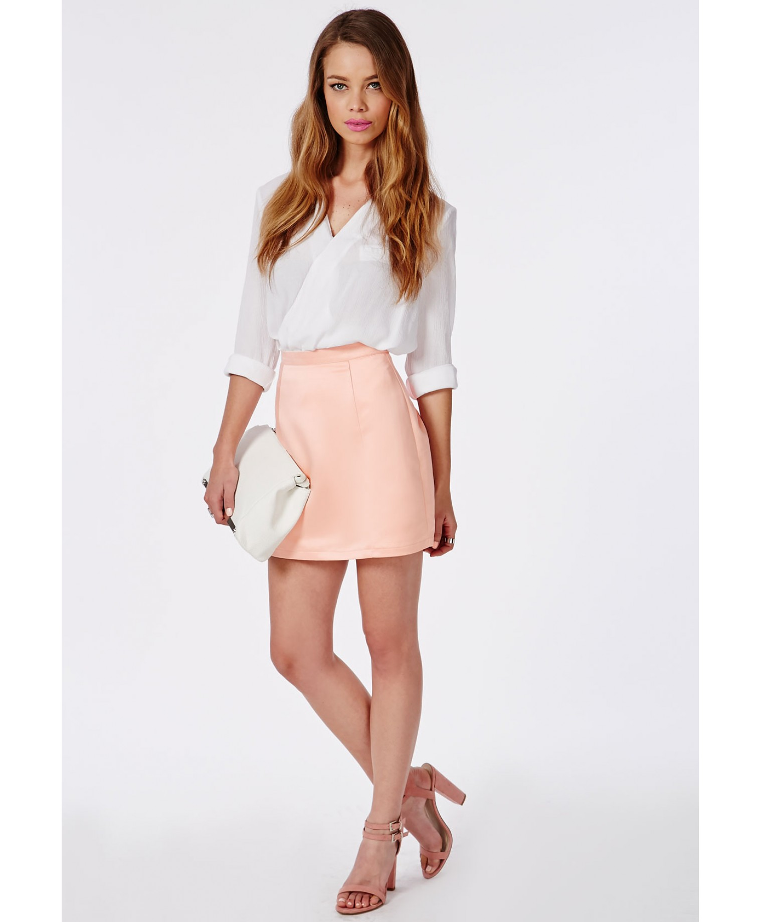 Satin A Line Mini Skirt Dusky Pink
