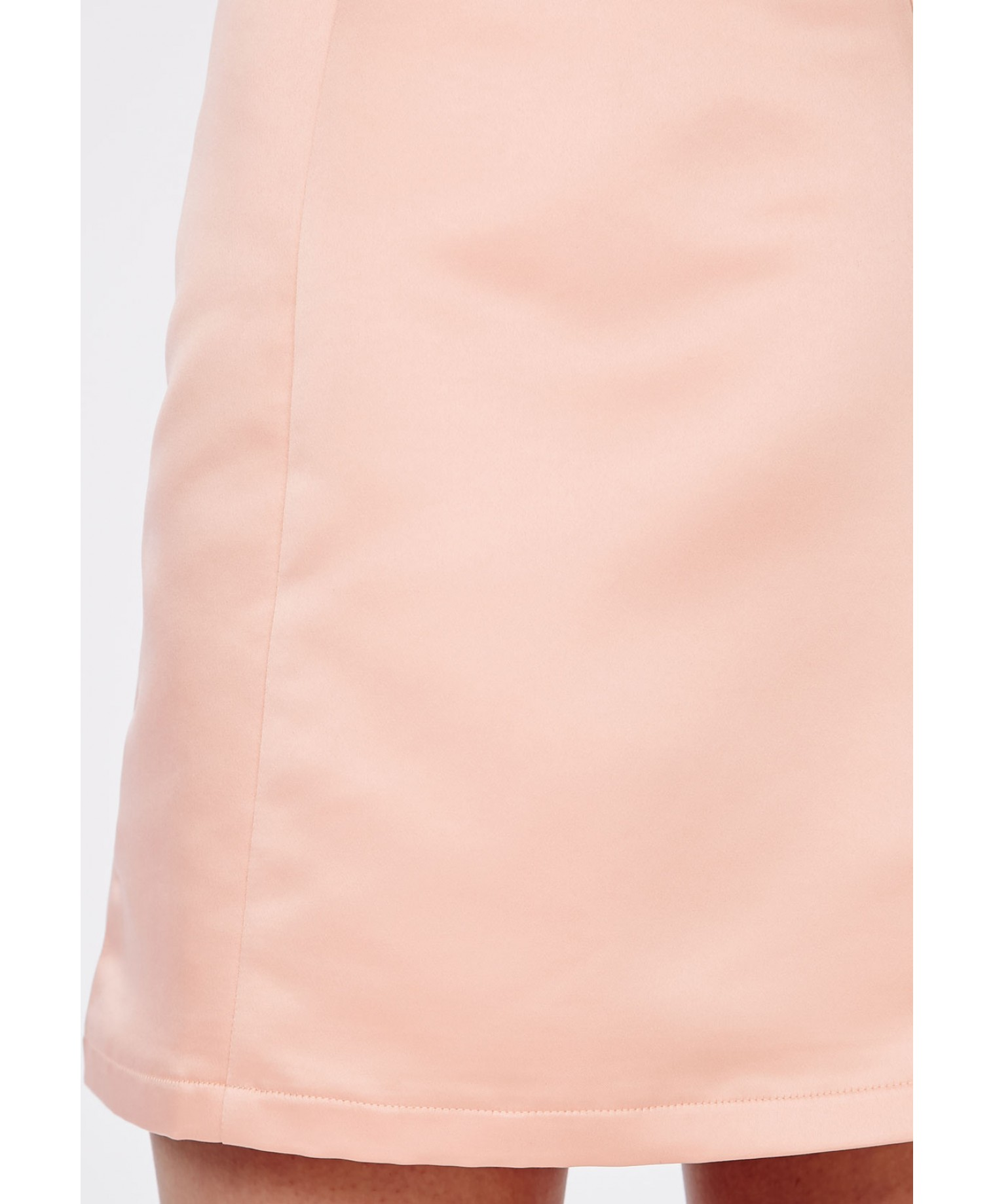 Satin A Line Mini Skirt Dusky Pink 4
