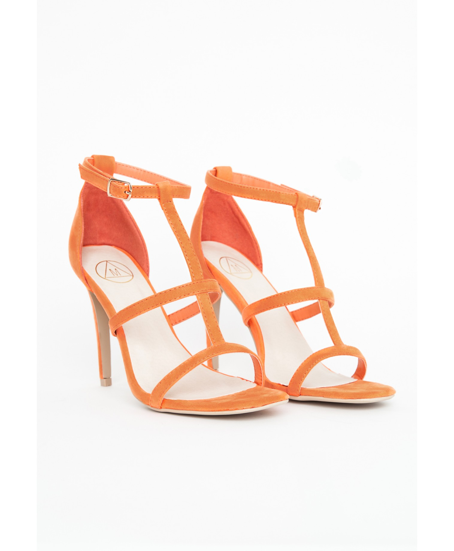Gemma caged heel sandals in orange 1