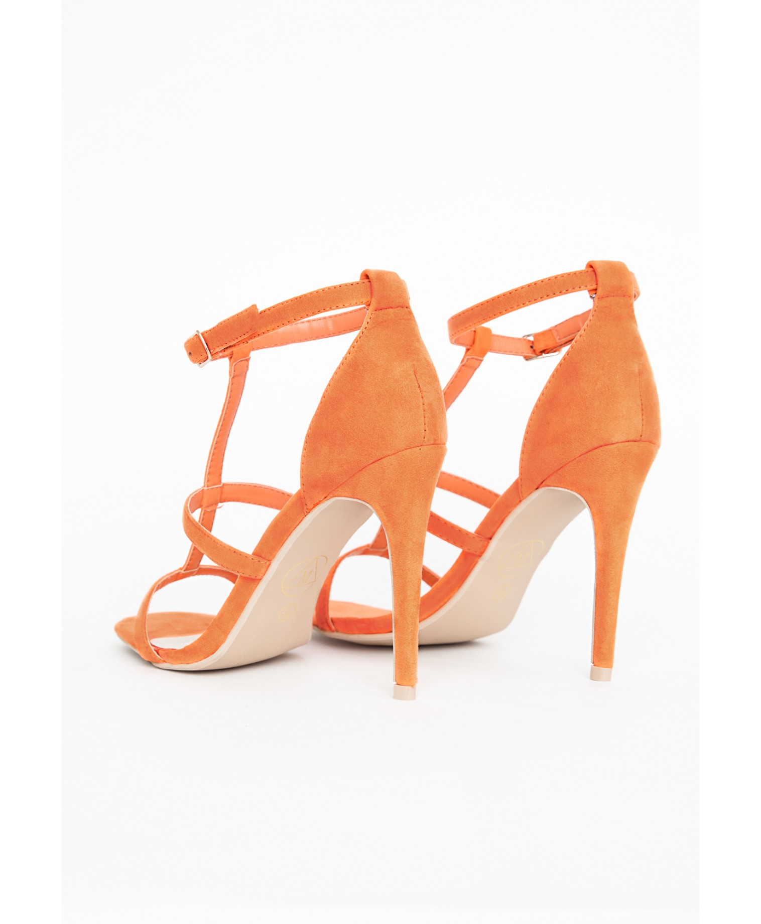 Gemma caged heel sandals in orange 2