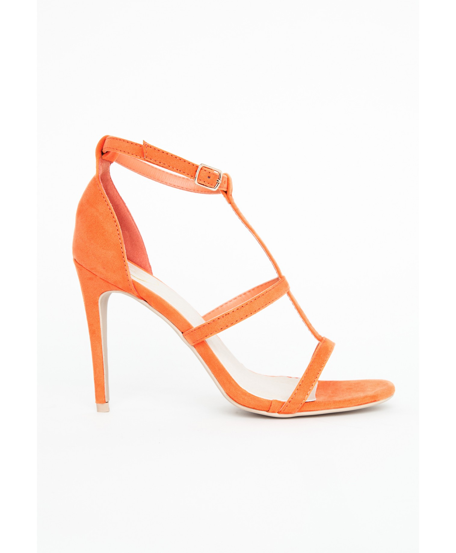 Gemma caged heel sandals in orange 3