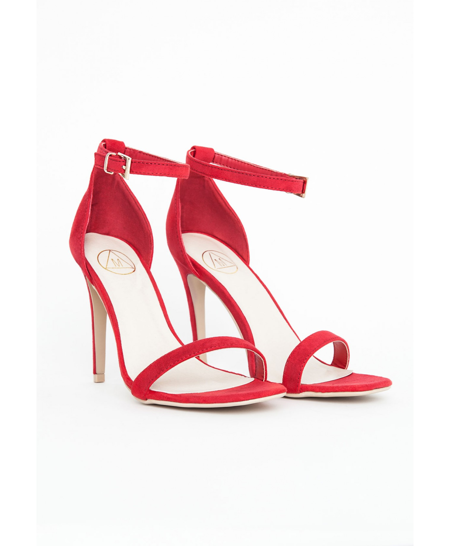 Clara suede strappy sandals in red