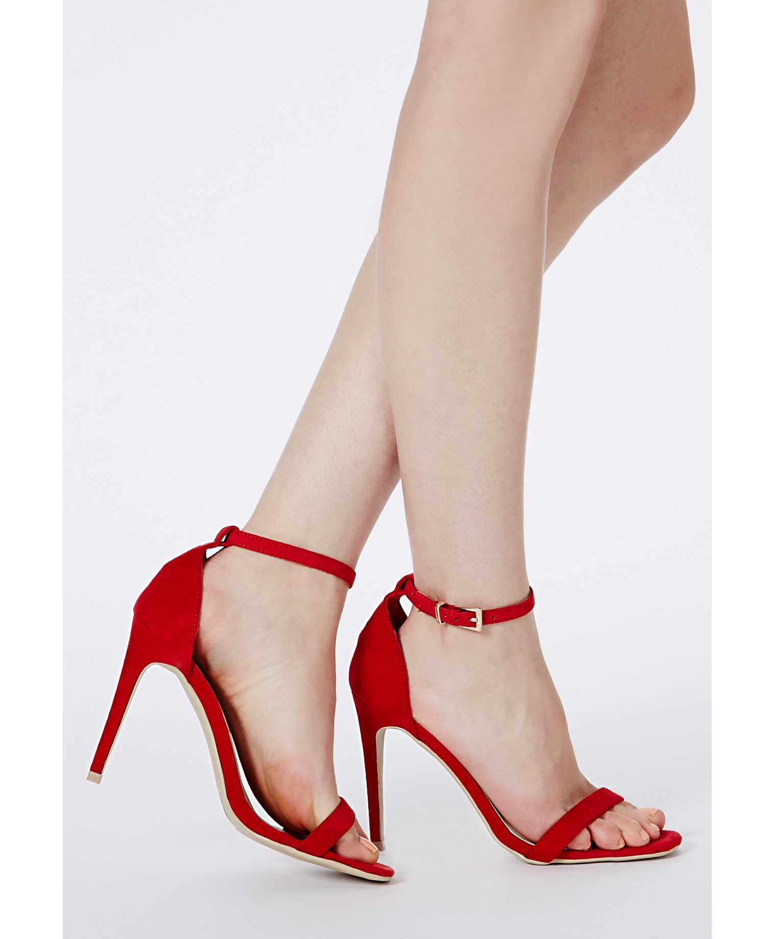 Clara suede strappy sandals in red 2