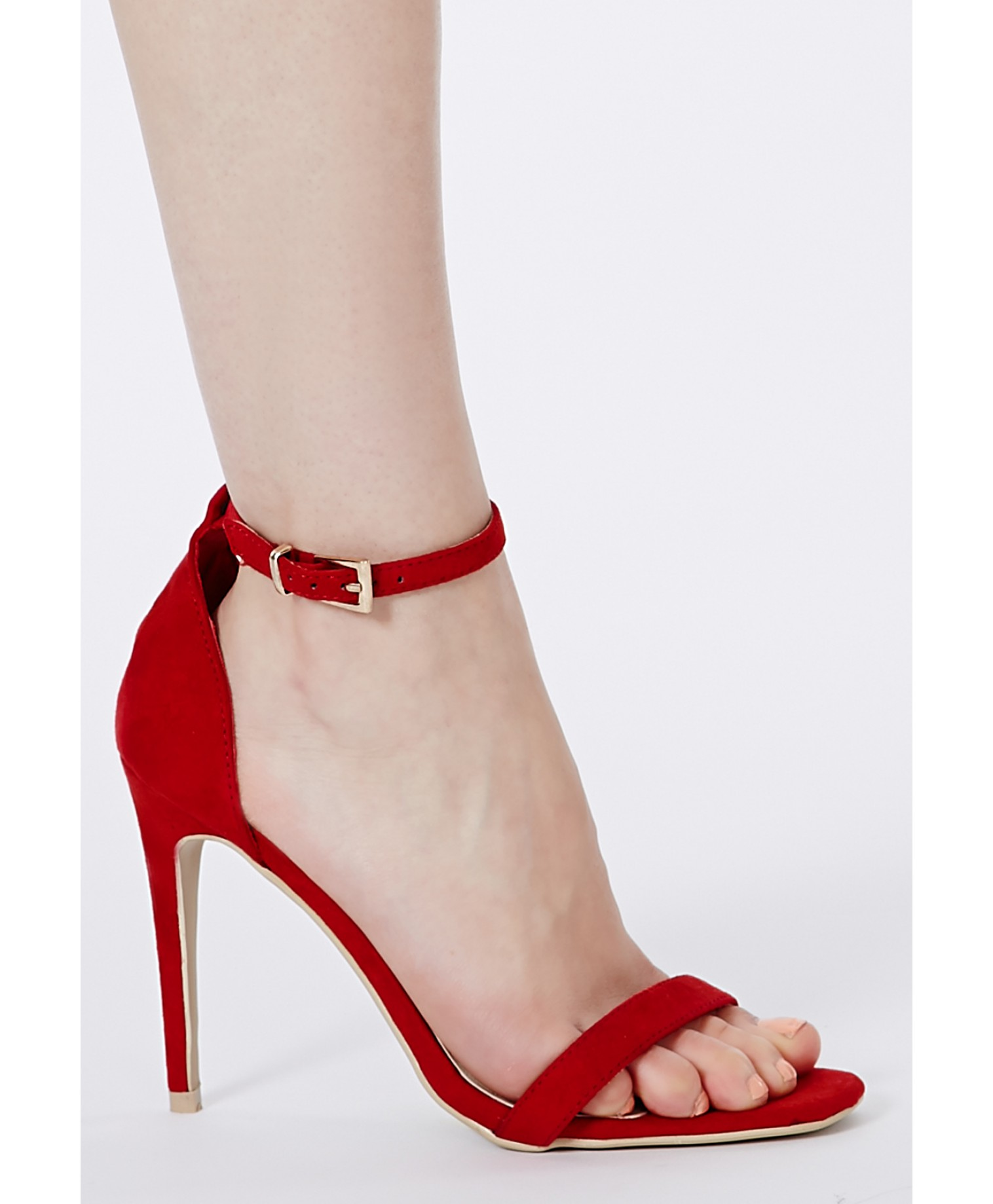 Clara suede strappy sandals in red 3