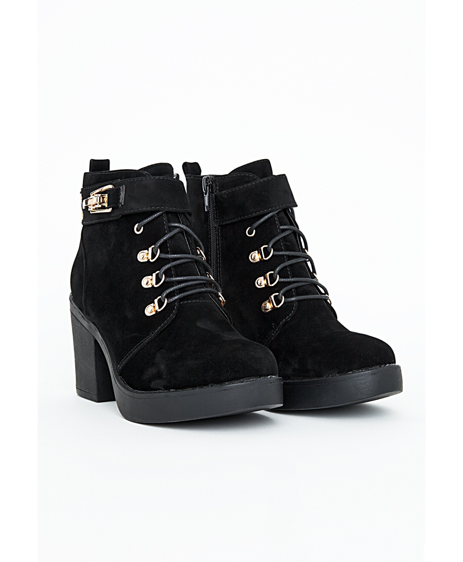 Felisimina black suede ankle boots with buckle detail 1