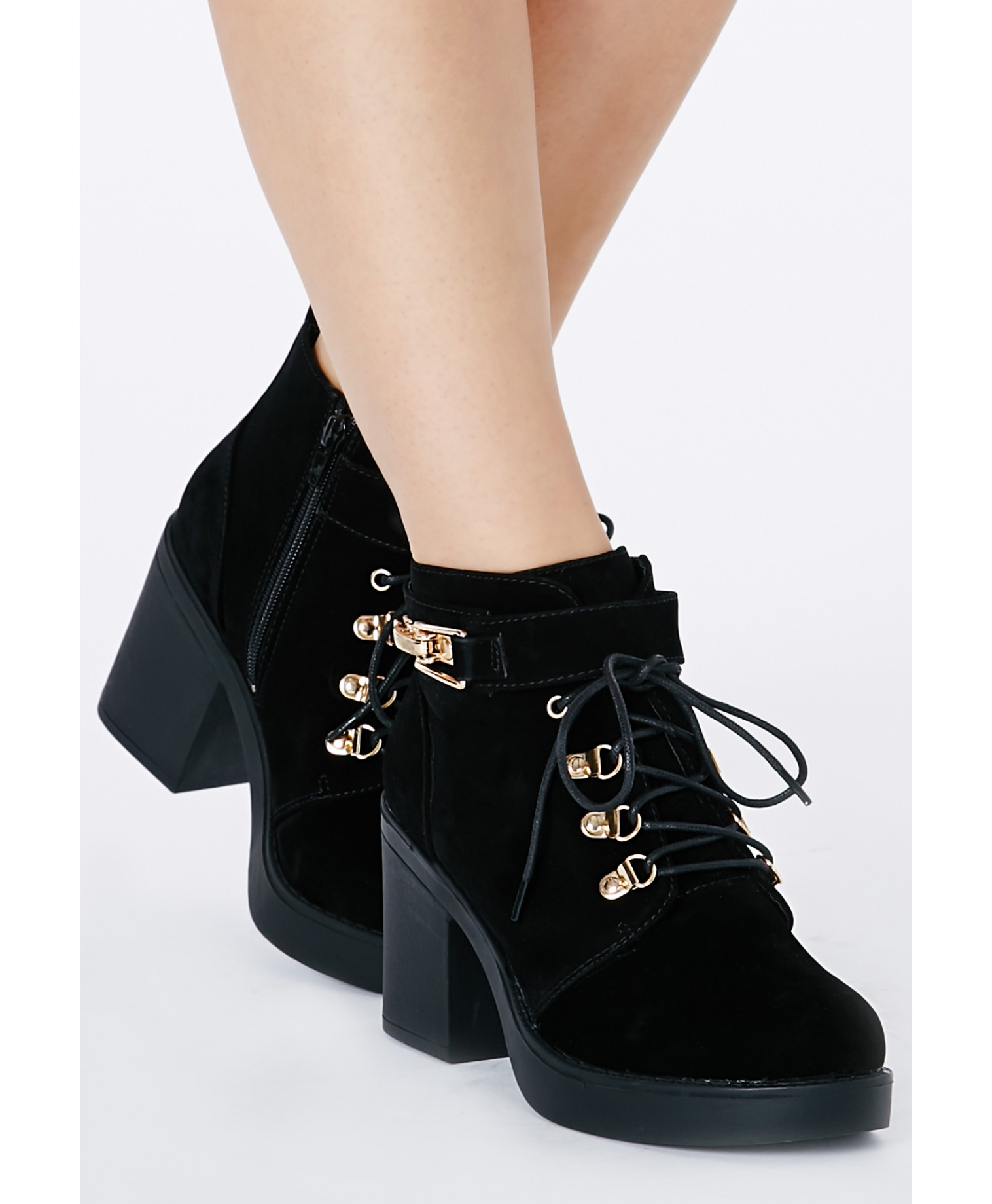 Felisimina black suede ankle boots with buckle detail 2