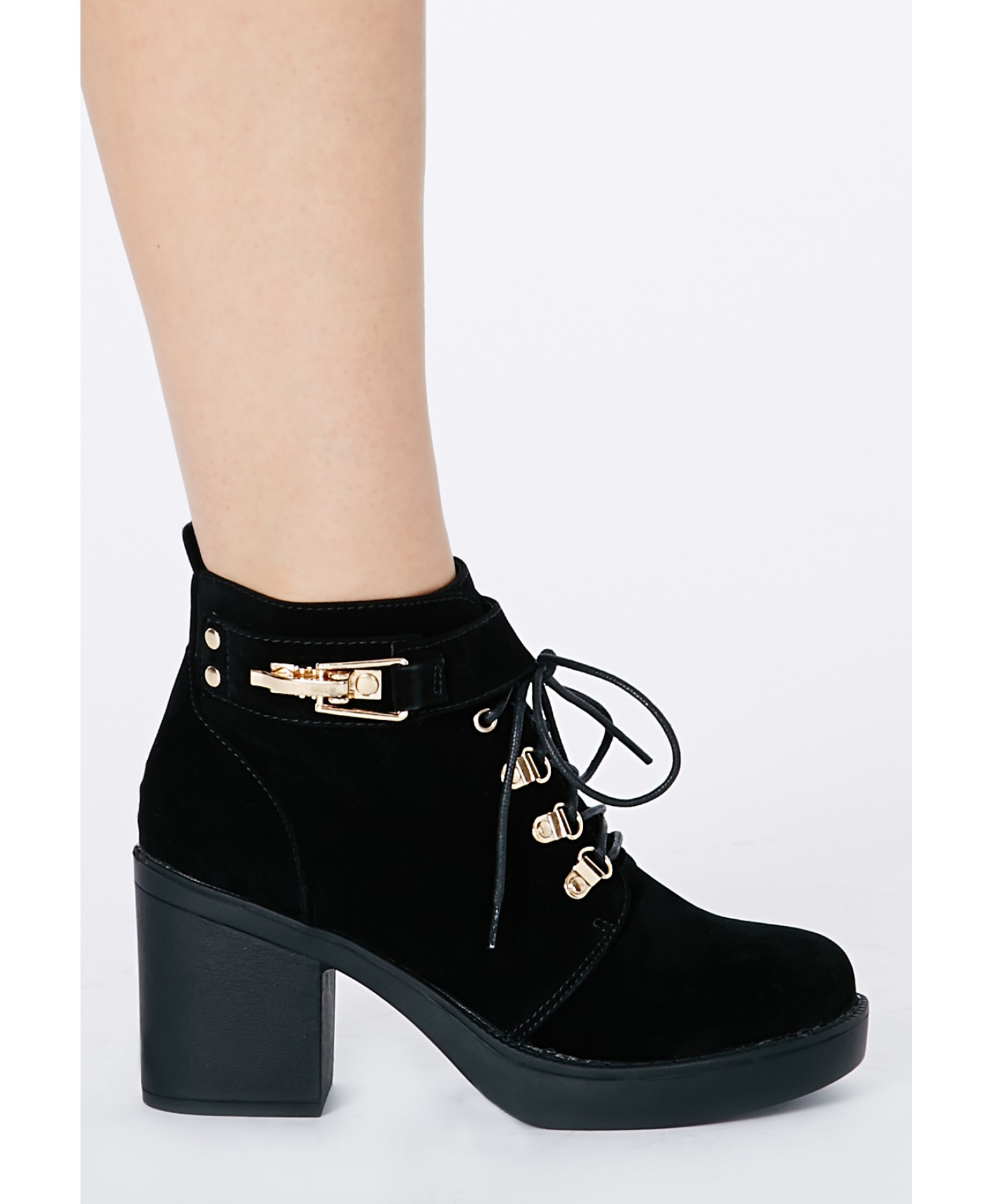 Felisimina black suede ankle boots with buckle detail 3