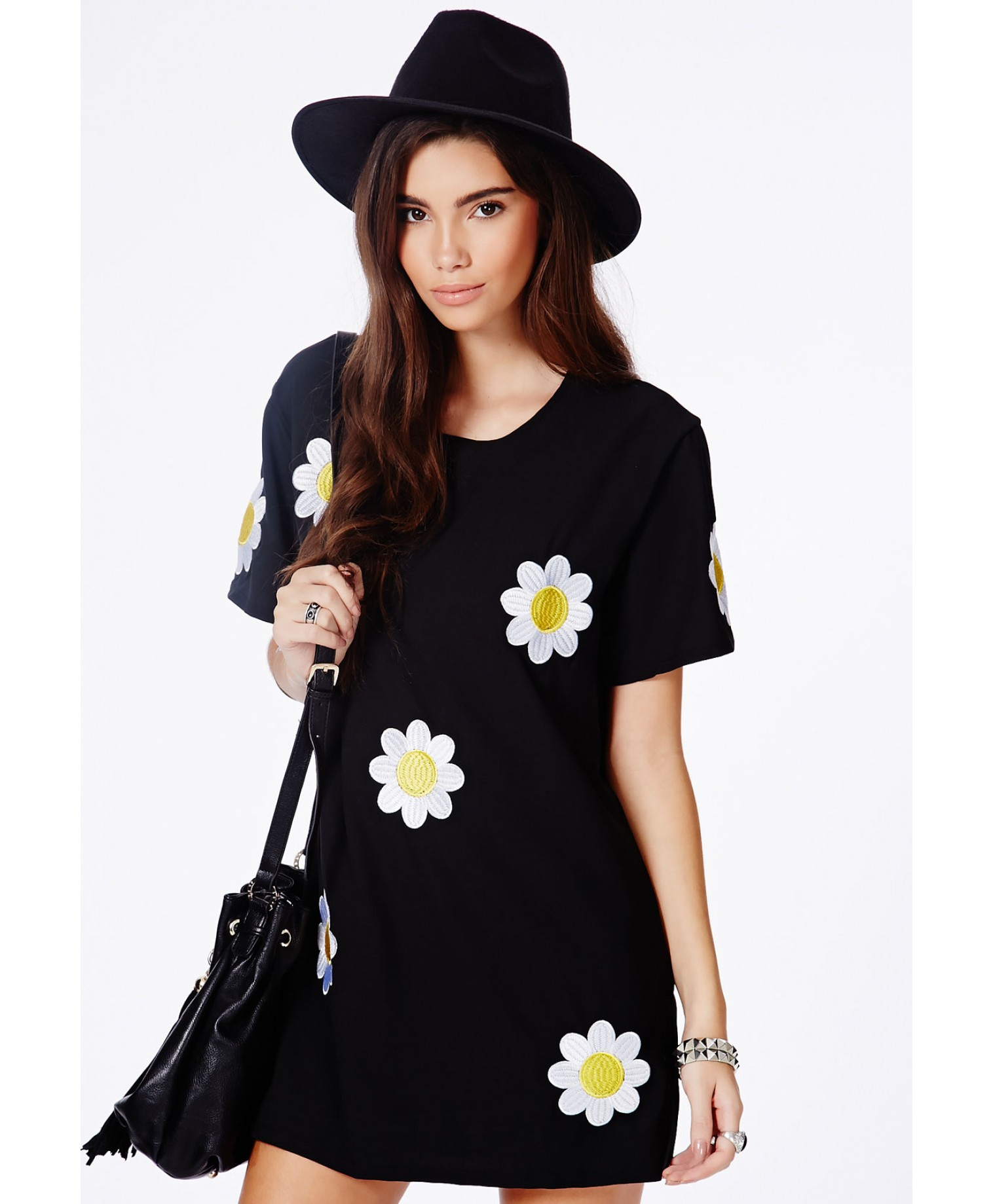 Calanta black oversized daisy shift dress