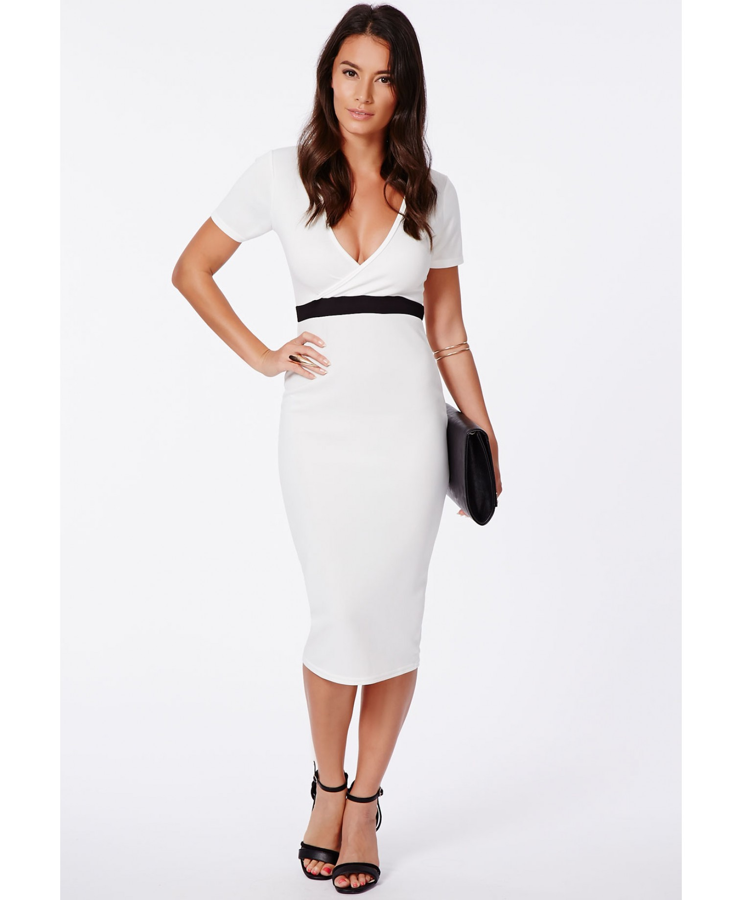 Verda wrap over monochrome contrast midi dress