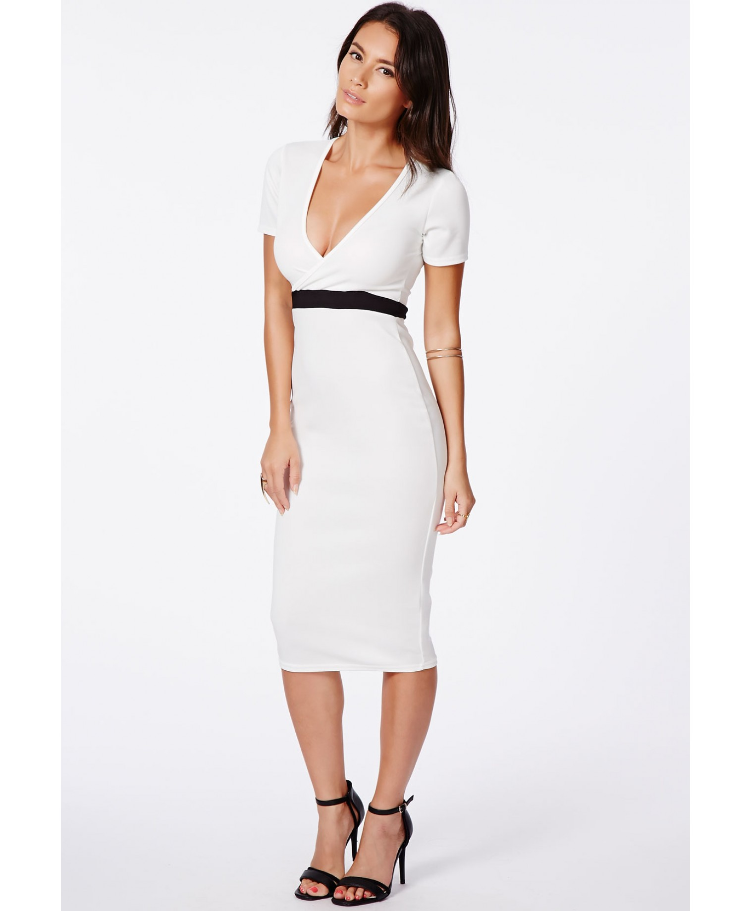Verda wrap over monochrome contrast midi dress 4