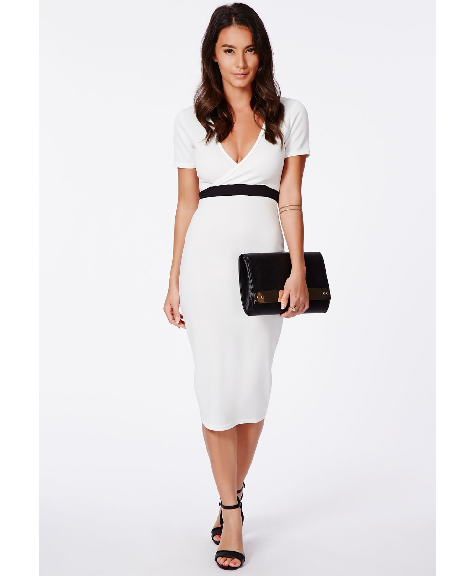 Verda wrap over monochrome contrast midi dress 2