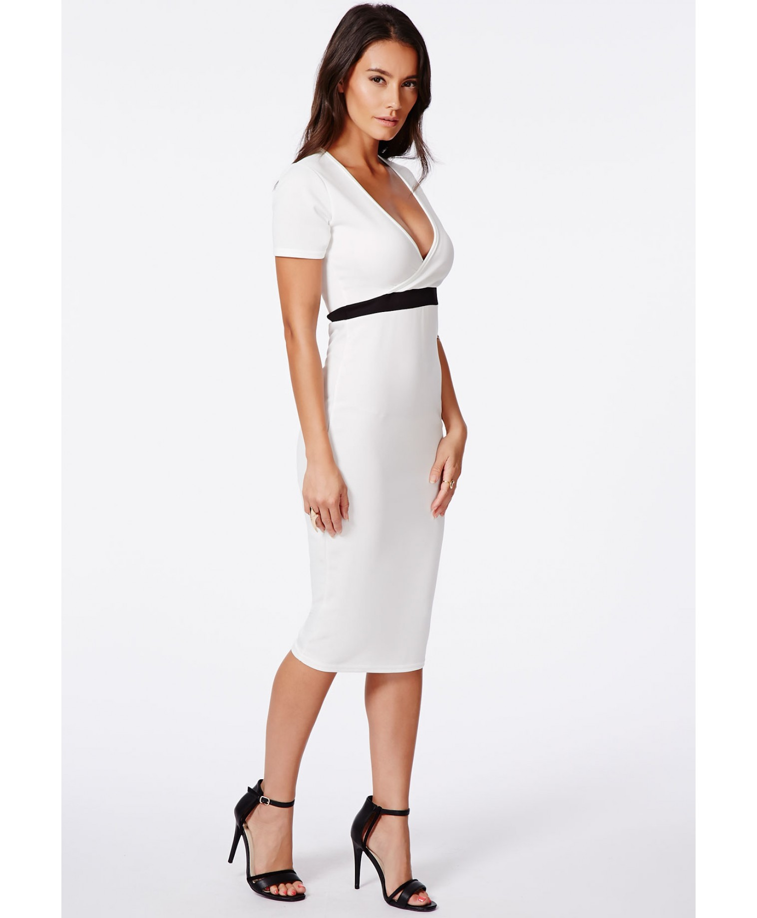 Verda wrap over monochrome contrast midi dress 3