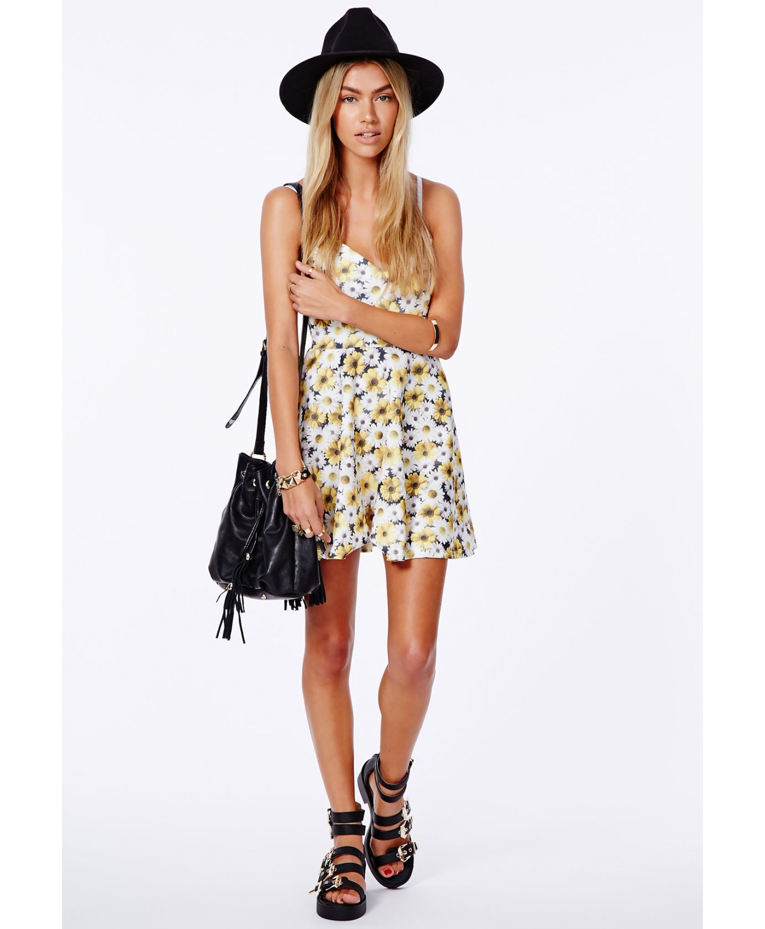Arisa yellow skater dress in daisy print 2