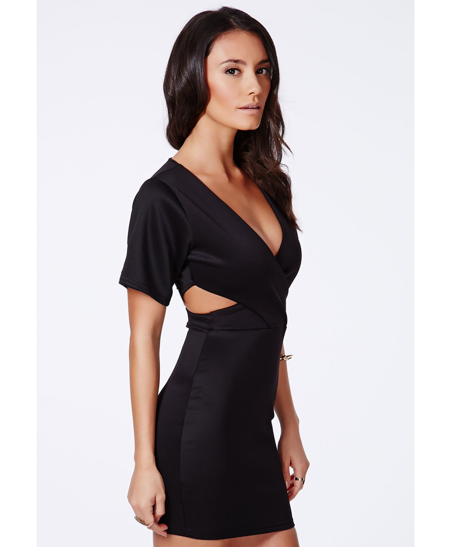 Berlyna black cut out wrap mini dress 3