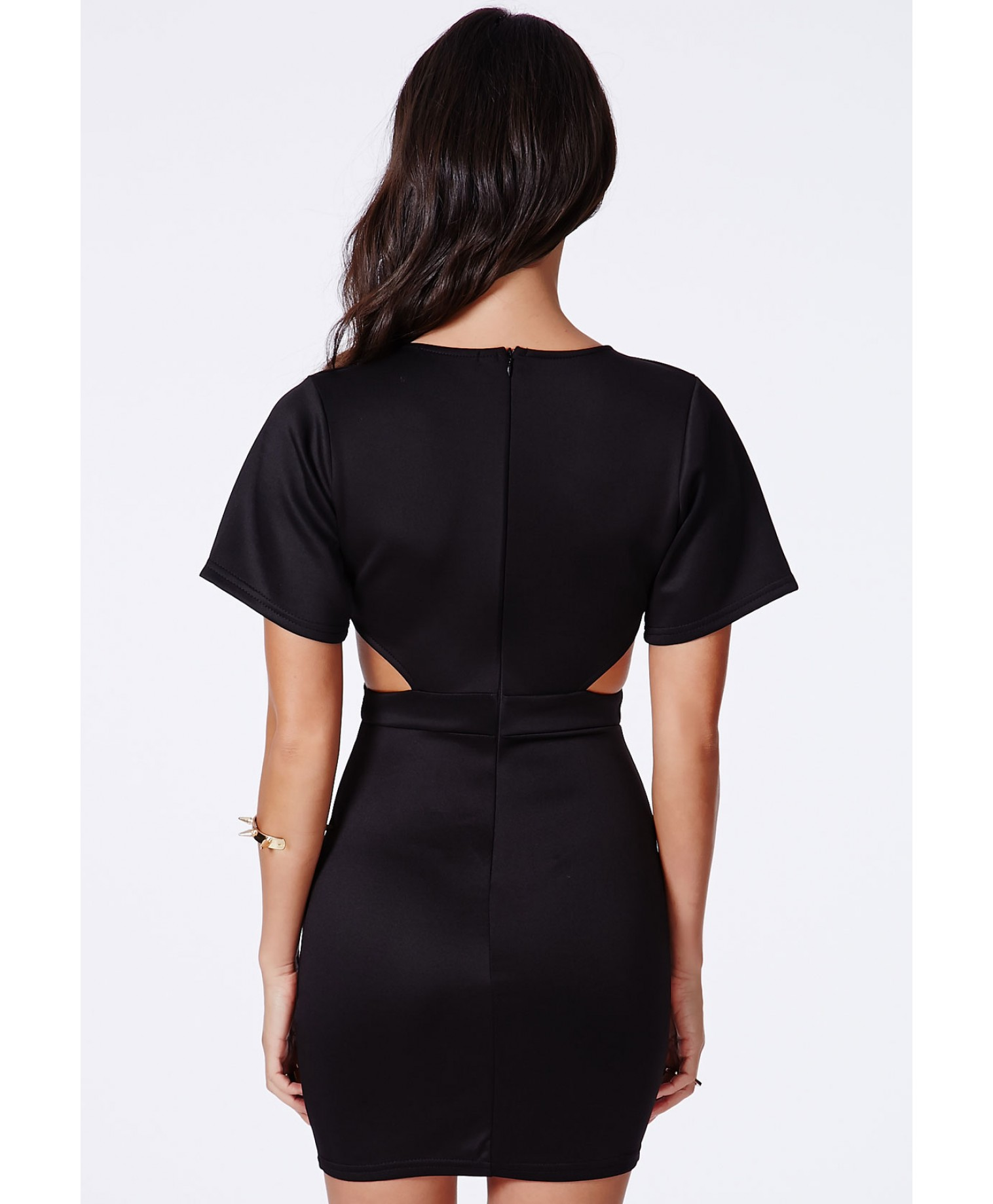 Berlyna black cut out wrap mini dress 4