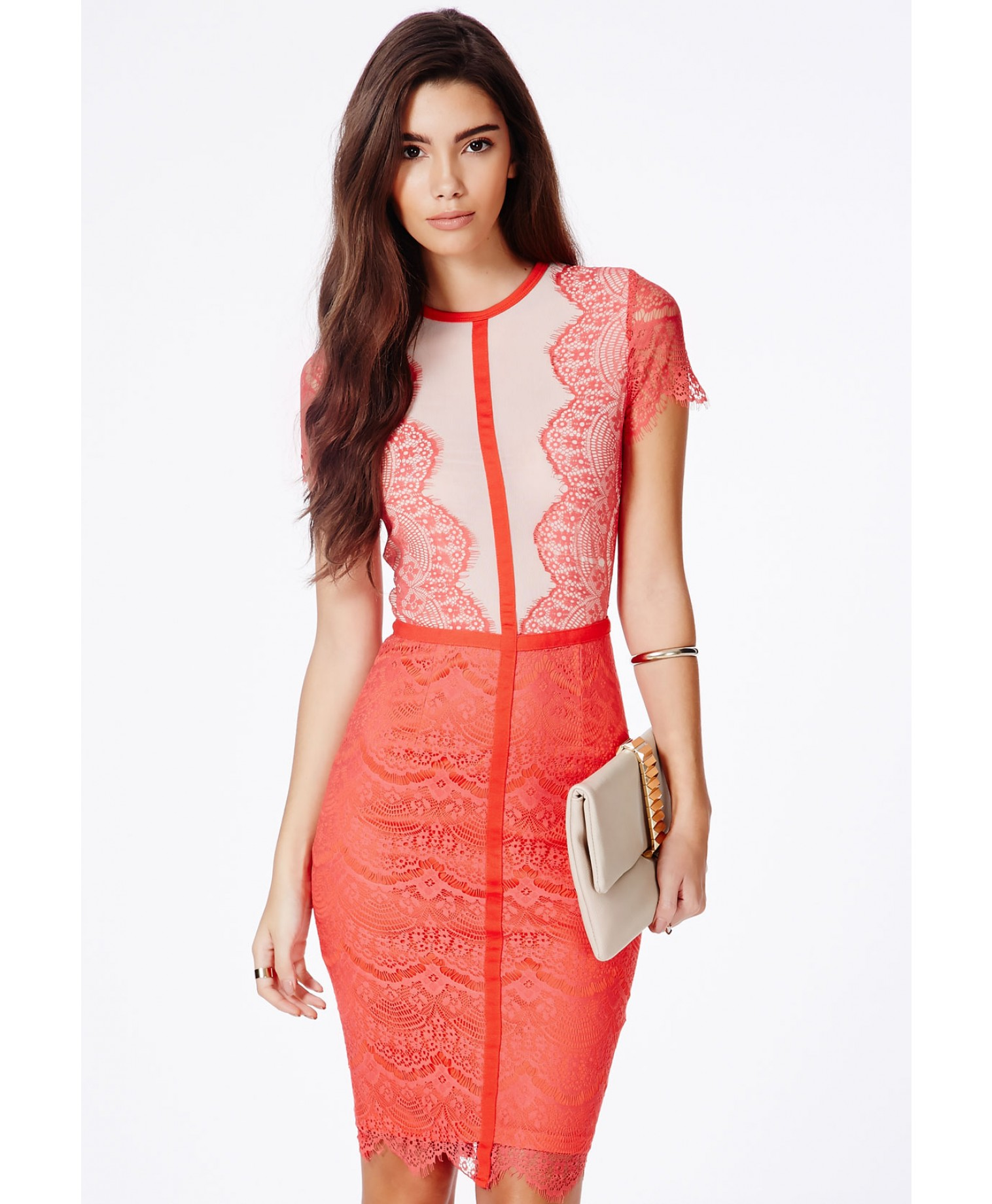 Satsuko lace panel midi dress in coral