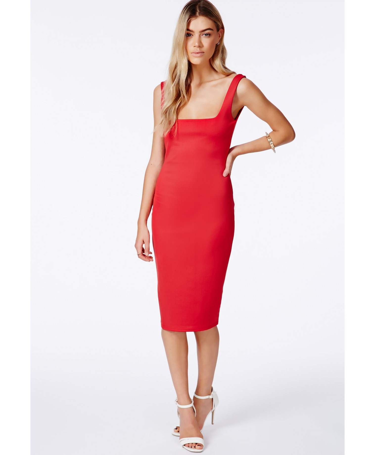 Sanga red scuba midi dress 2