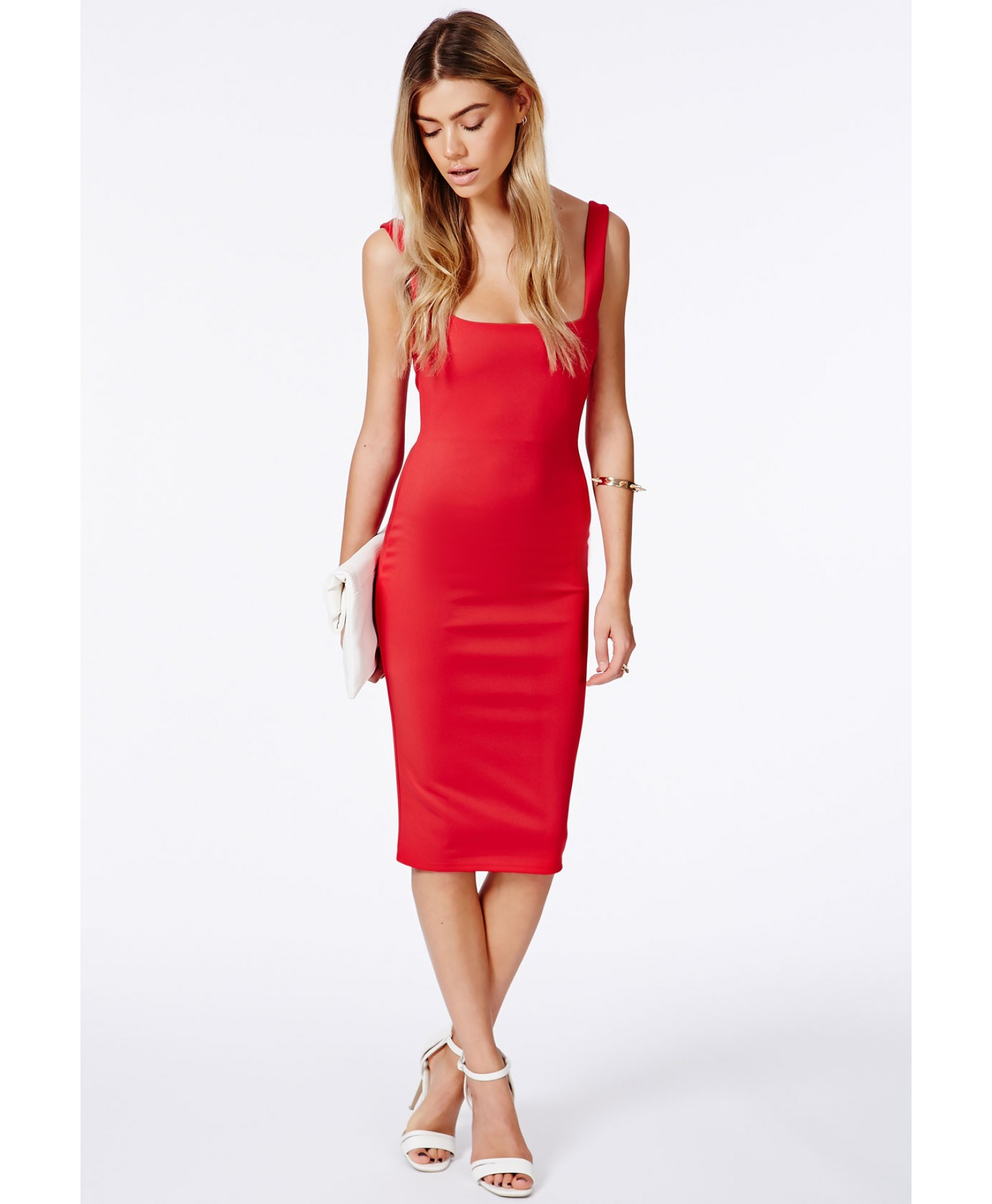 Sanga red scuba midi dress