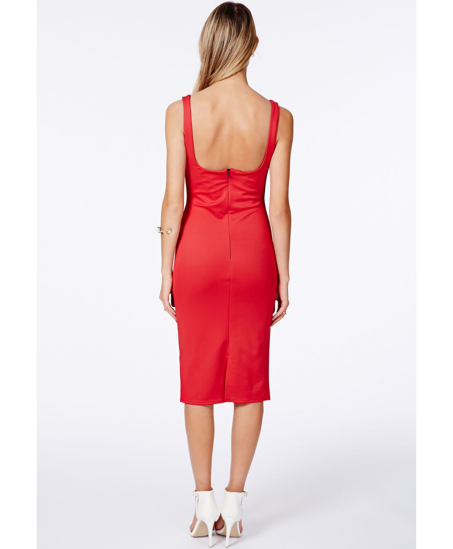 Sanga red scuba midi dress 3